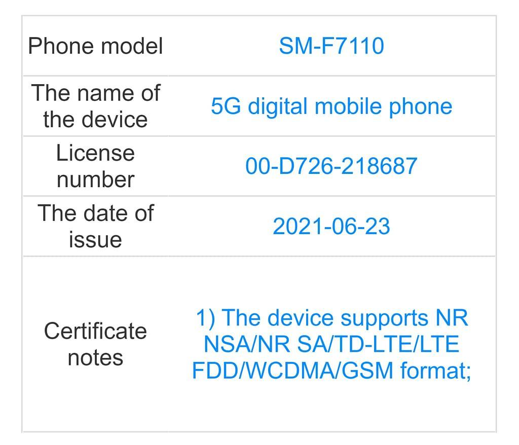Samsung Galaxy Z Fold3 5G TENAA