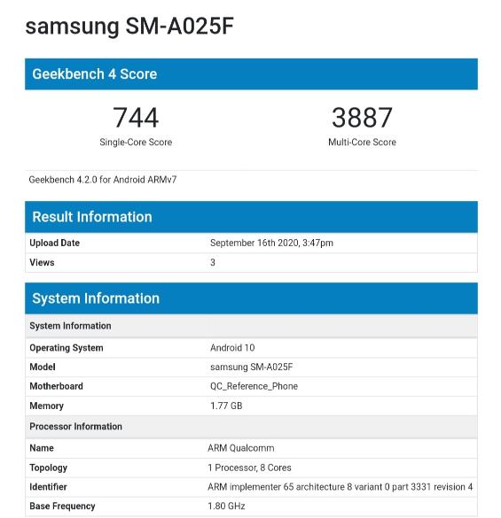 Samsung Galaxy A02 - Geekbench
