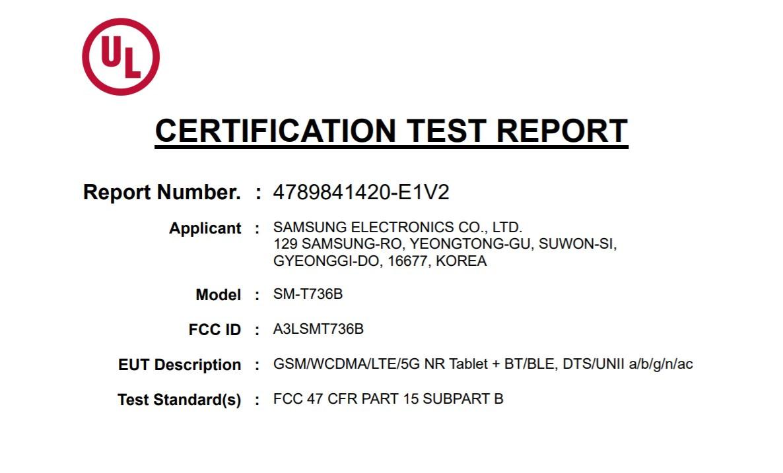 Samsung Galaxy Tab S7 XL Lite (SM-T736B) FCC