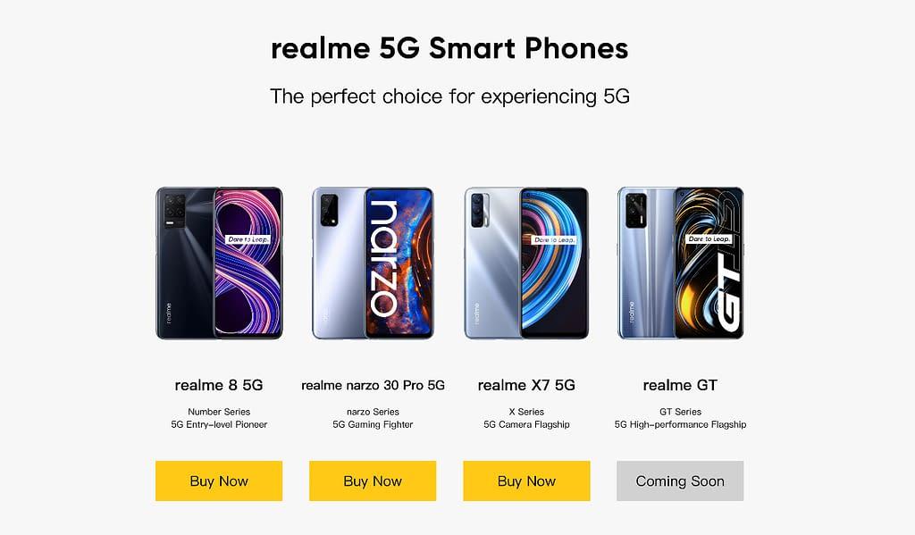 Realme GT 5G on Realme India website