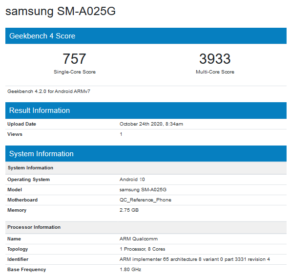 Samsung Galaxy A02s Geekbench report