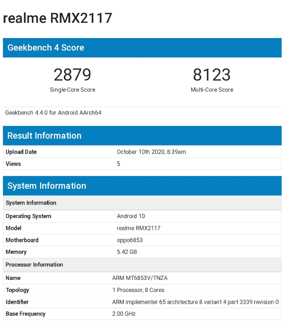 Realme Q2 (RMX2117) - Geekbench