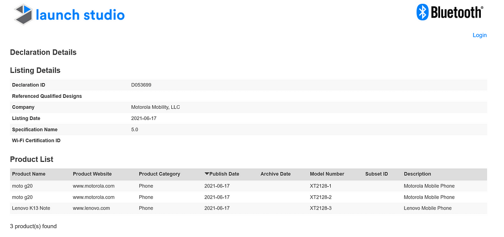 Lenovo K13 Note (XT2128-3) Bluetooth SIG listing