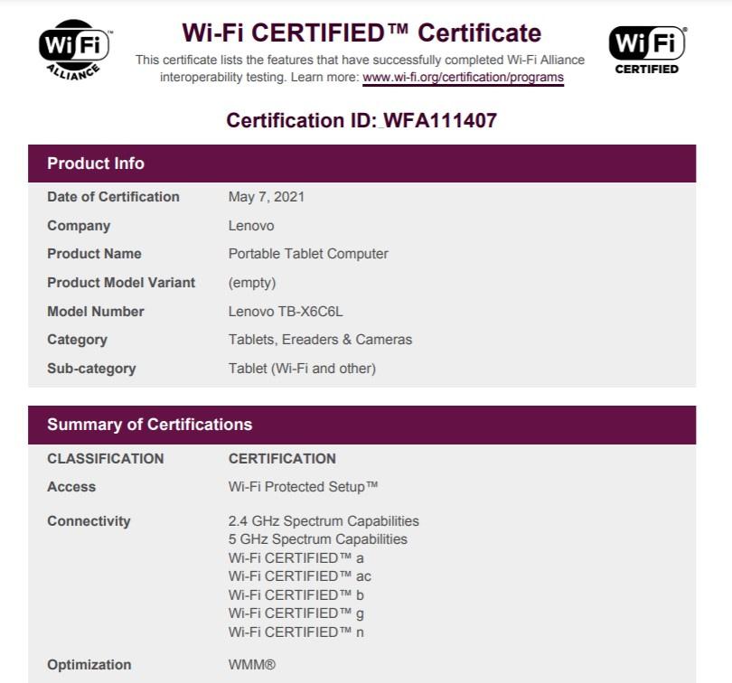 Lenovo Tab K10 Wi-Fi certification