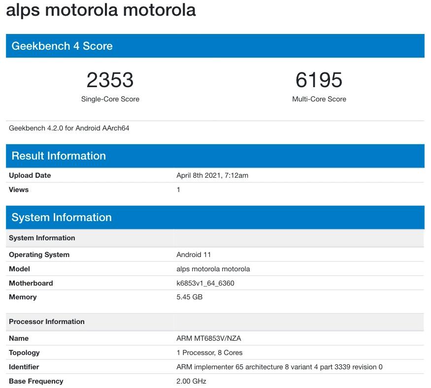 Motorola alps Geekbench