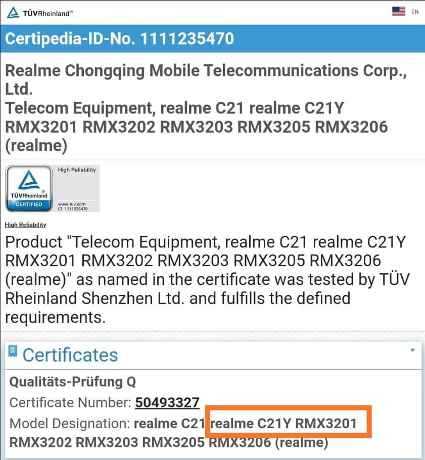 Realme C21Y (RMX3261) TUV certification