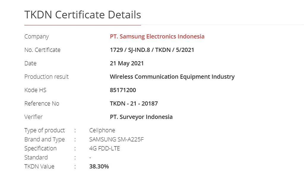Samsung Galaxy A22 4G (SM-A225F) TKDN certificate