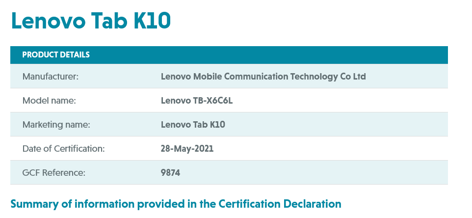 Lenovo Tab K10 (TB-X6C6L) GCF certification
