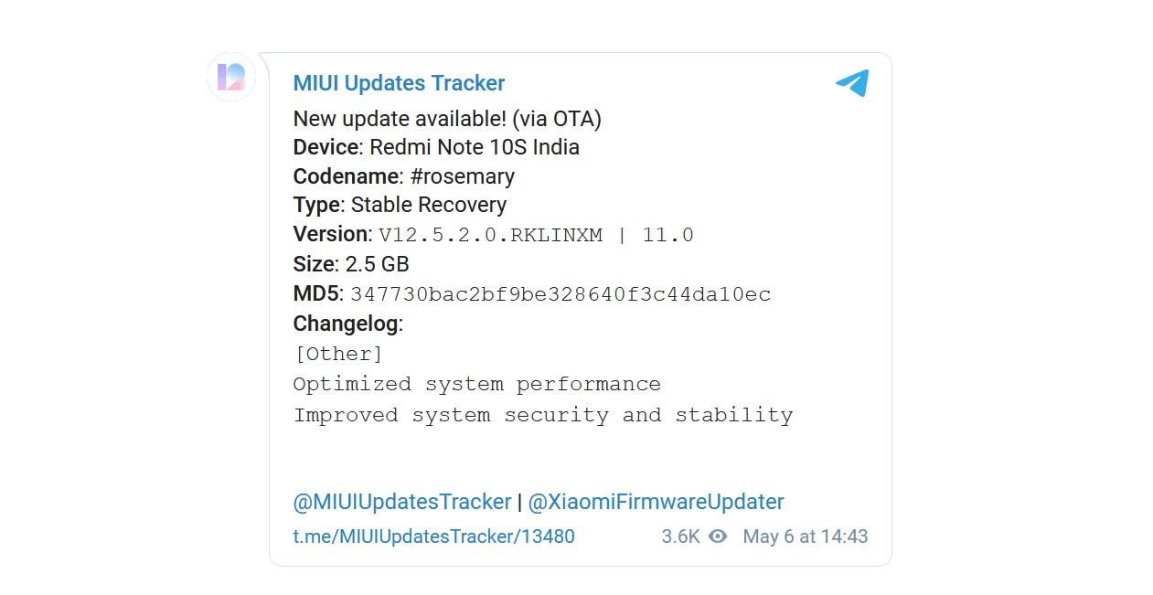 Redmi Note 10S MIUI 12.5