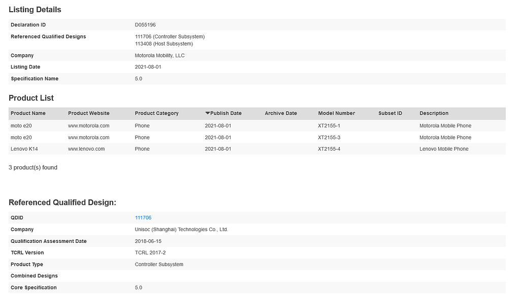 Lenovo K14 and Moto E20 Bluetooth SIG