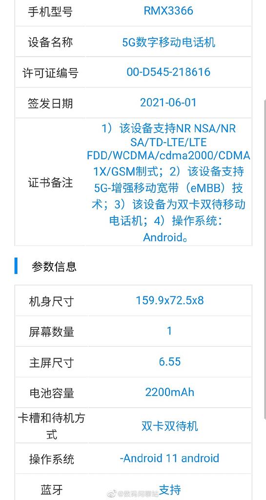Realme RMX3366 TENAA listing