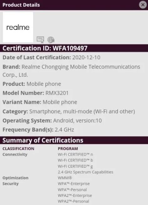 Realme C21 - WiFi Alliance certification