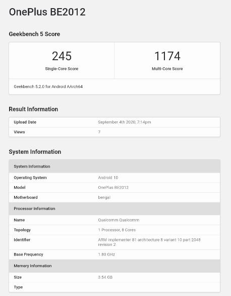 OnePlus Clover - Geekbench