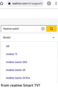 Realme 7i support page listing